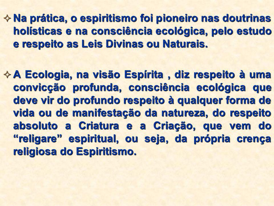 Na prática, o espiritismo foi pioneiro nas doutrinas holísticas e na consciência ecológica, pelo estudo e respeito as Leis Divinas ou Naturais.  A
