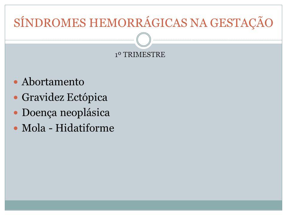 SÍNDROMES HEMORRÁGICAS NA GESTAÇÃO Abortamento Gravidez Ectópica Doença neoplásica Mola - Hidatiforme 1º TRIMESTRE