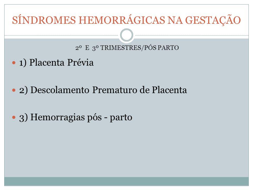 SÍNDROMES HEMORRÁGICAS NA GESTAÇÃO 1) Placenta Prévia 2) Descolamento Prematuro de Placenta 3) Hemorragias pós - parto 2º E 3º TRIMESTRES/PÓS PARTO