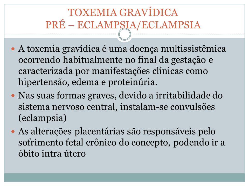 TOXEMIA GRAVÍDICA PRÉ – ECLAMPSIA/ECLAMPSIA A toxemia gravídica é uma doença multissistêmica ocorrendo habitualmente no final da gestação e caracteriz