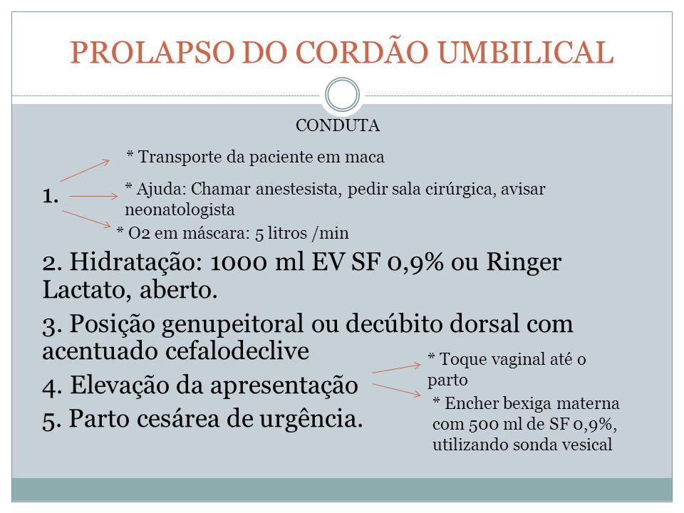 PROLAPSO DO CORDÃO UMBILICAL 1. 2. Hidratação: 1000 ml EV SF 0,9% ou Ringer Lactato, aberto. 3. Posição genupeitoral ou decúbito dorsal com acentuado