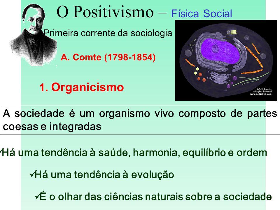 O Positivismo – Física Social Primeira corrente da sociologia A. Comte (1798-1854) 1. Organicismo Há uma tendência à evolução É o olhar das ciências n