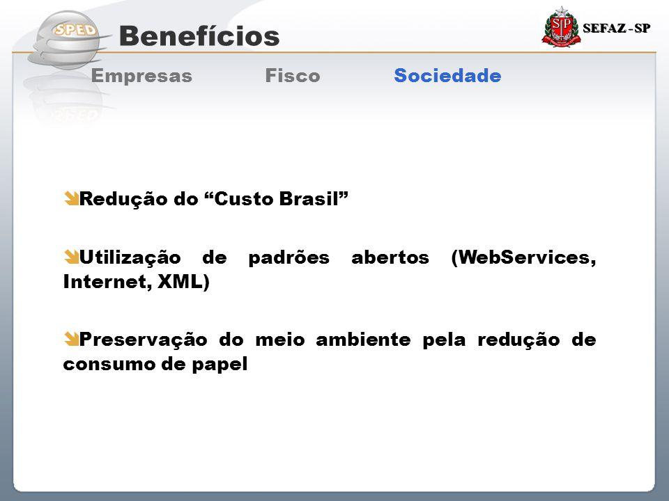 """Sistema Público de Escrituração Digital SEFAZ - SP Benefícios Empresas Fisco Sociedade  Redução do """"Custo Brasil""""  Utilização de padrões abertos (We"""