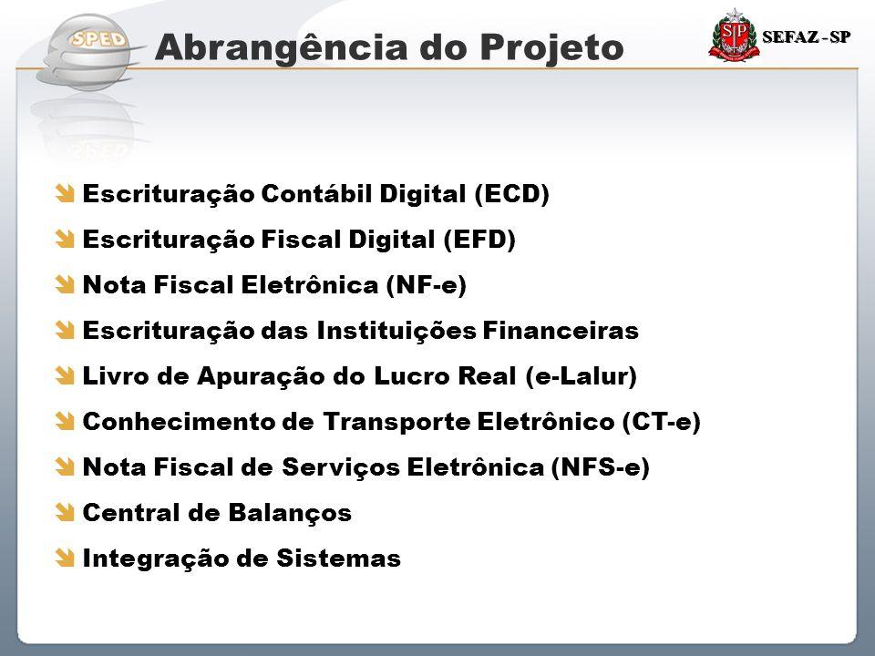 Sistema Público de Escrituração Digital SEFAZ - SP Abrangência do Projeto  Escrituração Contábil Digital (ECD)  Escrituração Fiscal Digital (EFD) 