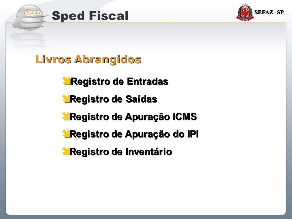Sistema Público de Escrituração Digital SEFAZ - SP Livros Abrangidos  Registro de Entradas  Registro de Saídas  Registro de Apuração ICMS  Registr