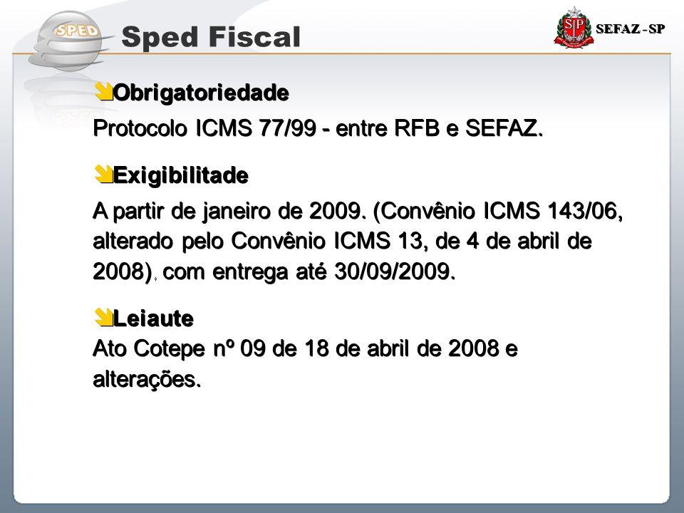 Sistema Público de Escrituração Digital SEFAZ - SP  Obrigatoriedade Protocolo ICMS 77/99 - entre RFB e SEFAZ.  Exigibilitade A partir de janeiro de