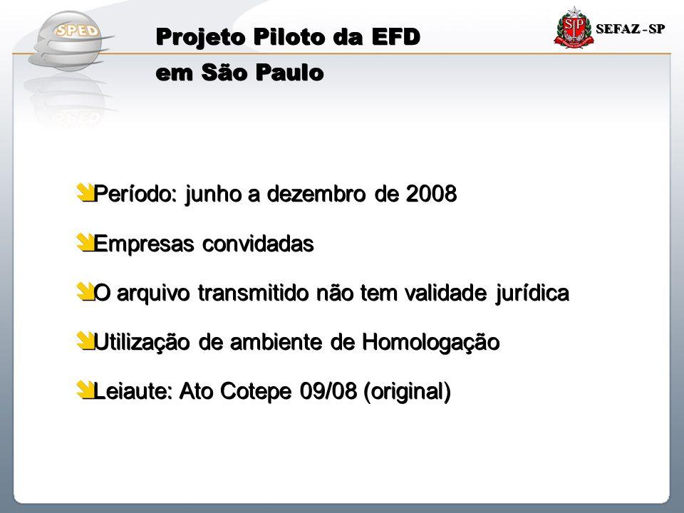Sistema Público de Escrituração Digital SEFAZ - SP Projeto Piloto da EFD em São Paulo  Período: junho a dezembro de 2008  Empresas convidadas  O ar