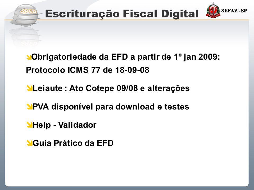 Sistema Público de Escrituração Digital SEFAZ - SP  Obrigatoriedade da EFD a partir de 1º jan 2009: Protocolo ICMS 77 de 18-09-08  Leiaute : Ato Cot