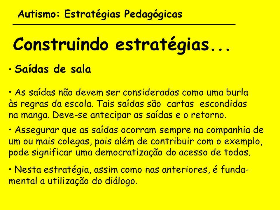 Autismo: Estratégias Pedagógicas ___________________________________ Construindo estratégias... Saídas de sala As saídas não devem ser consideradas co