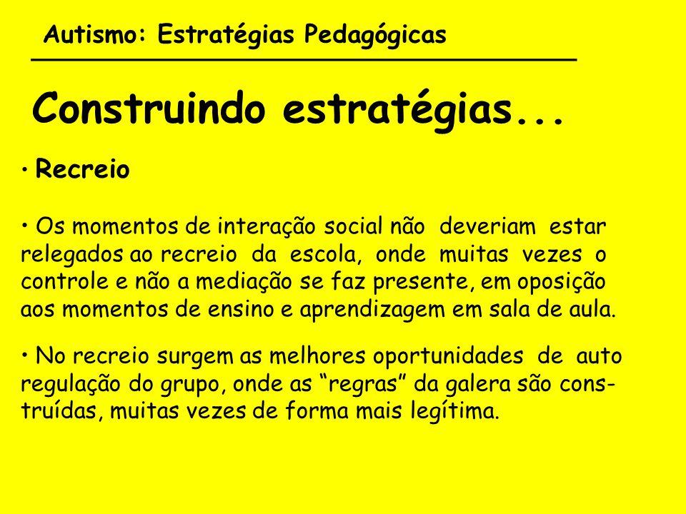 Autismo: Estratégias Pedagógicas ___________________________________ Construindo estratégias... Recreio Os momentos de interação social não deveriam e