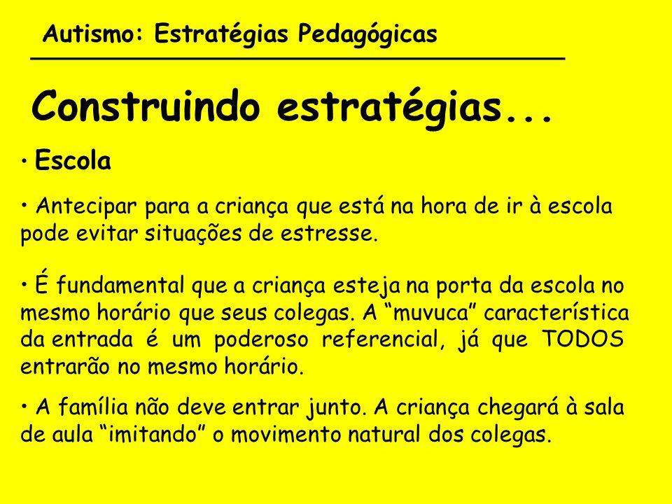 Autismo: Estratégias Pedagógicas ___________________________________ Construindo estratégias... Escola Antecipar para a criança que está na hora de ir