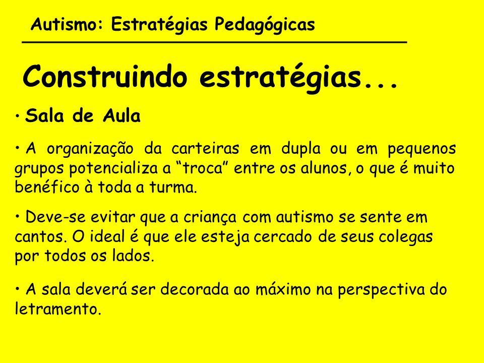 Autismo: Estratégias Pedagógicas ___________________________________ Construindo estratégias... Sala de Aula A organização da carteiras em dupla ou em