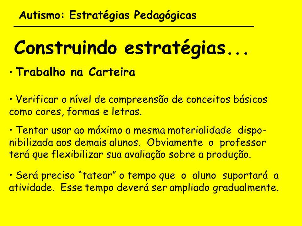 Autismo: Estratégias Pedagógicas ___________________________________ Construindo estratégias... Trabalho na Carteira Verificar o nível de compreensão