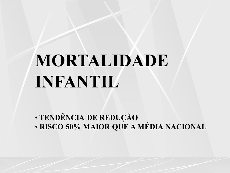 MORTALIDADE INFANTIL TENDÊNCIA DE REDUÇÃO RISCO 50% MAIOR QUE A MÉDIA NACIONAL