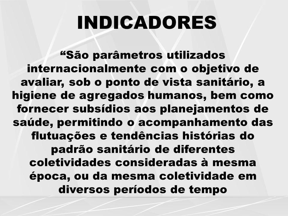 """INDICADORES """"São parâmetros utilizados internacionalmente com o objetivo de avaliar, sob o ponto de vista sanitário, a higiene de agregados humanos, b"""