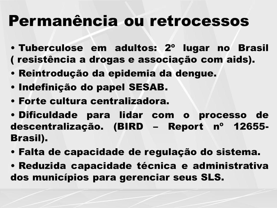 Permanência ou retrocessos Tuberculose em adultos: 2º lugar no Brasil ( resistência a drogas e associação com aids). Reintrodução da epidemia da dengu
