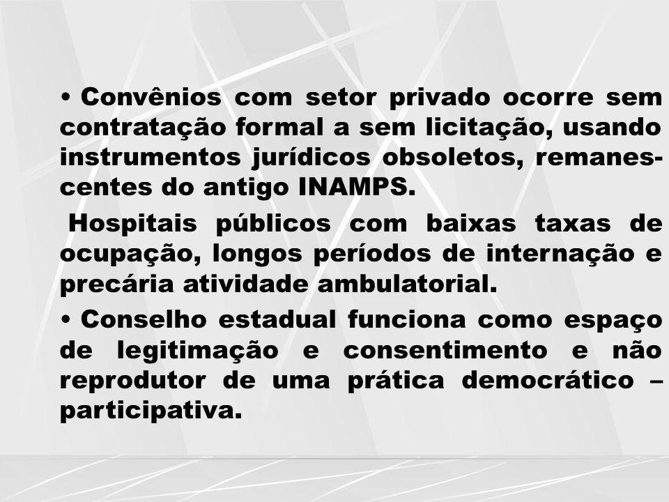 Convênios com setor privado ocorre sem contratação formal a sem licitação, usando instrumentos jurídicos obsoletos, remanes- centes do antigo INAMPS.