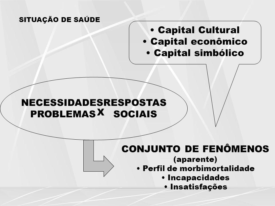 SITUAÇÃO DE SAÚDE Capital Cultural Capital econômico Capital simbólico NECESSIDADESRESPOSTAS PROBLEMASSOCIAIS X CONJUNTO DE FENÔMENOS (aparente) Perfi