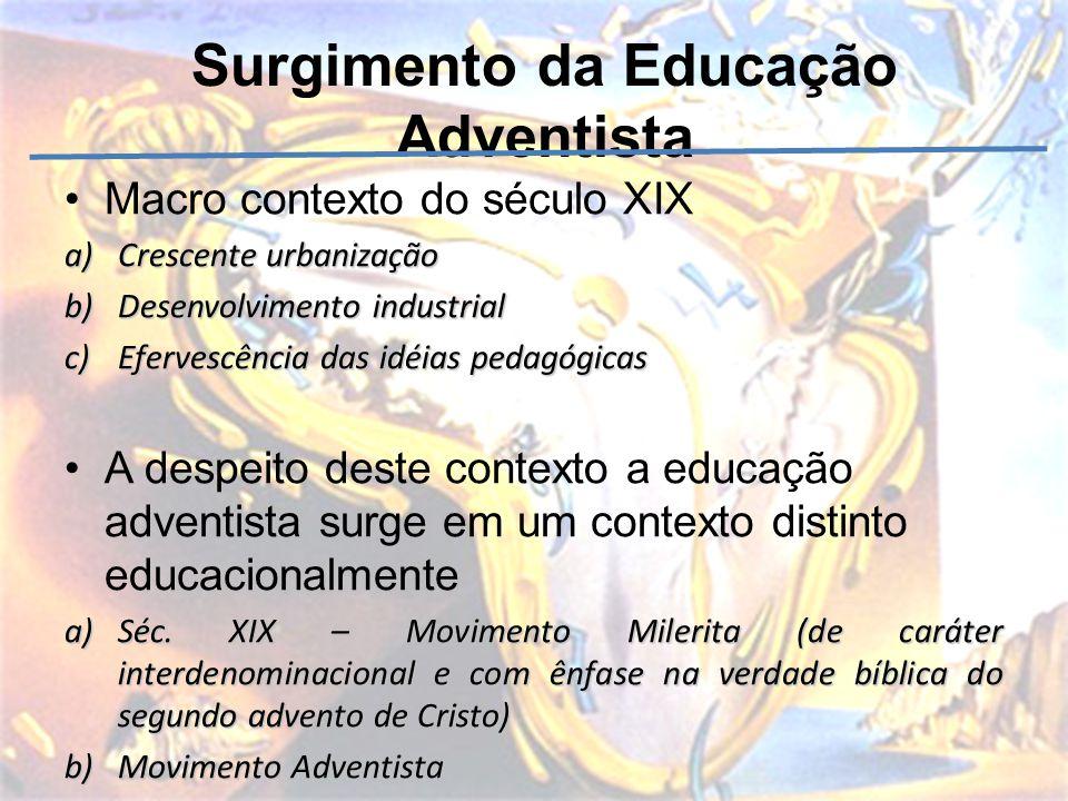 Surgimento da Educação Adventista Macro contexto do século XIX a)Crescente urbanização b)Desenvolvimento industrial c)Efervescência das idéias pedagóg
