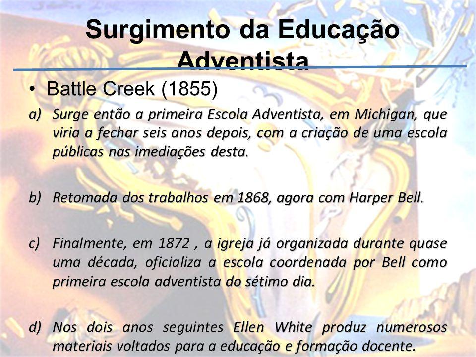 Surgimento da Educação Adventista Battle Creek (1855) a)Surge então a primeira Escola Adventista, em Michigan, que viria a fechar seis anos depois, co