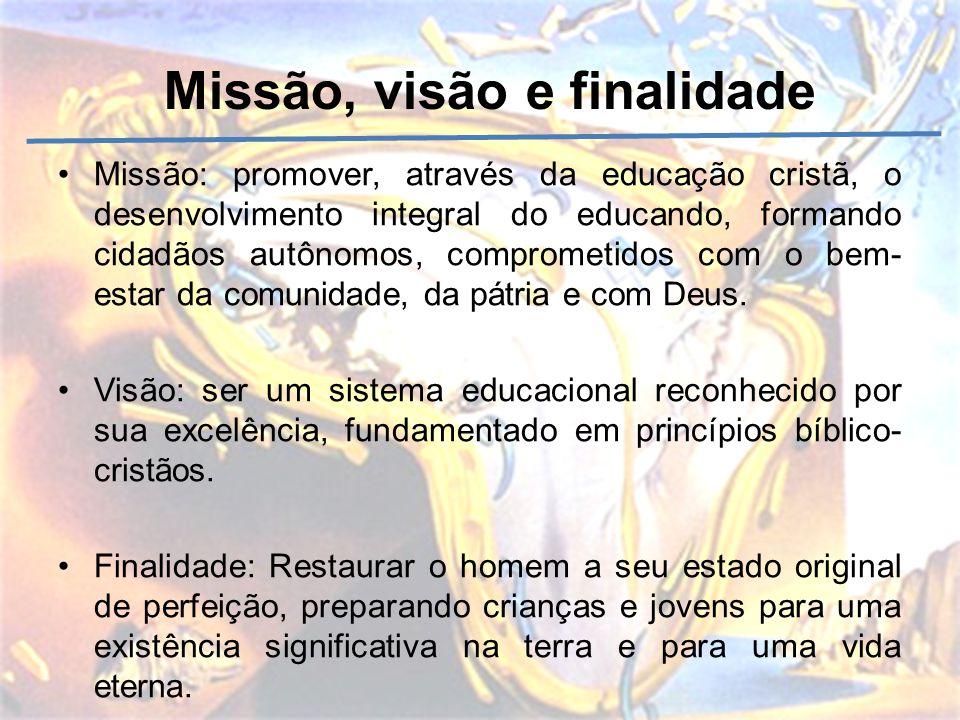 Missão, visão e finalidade Missão: promover, através da educação cristã, o desenvolvimento integral do educando, formando cidadãos autônomos, comprome