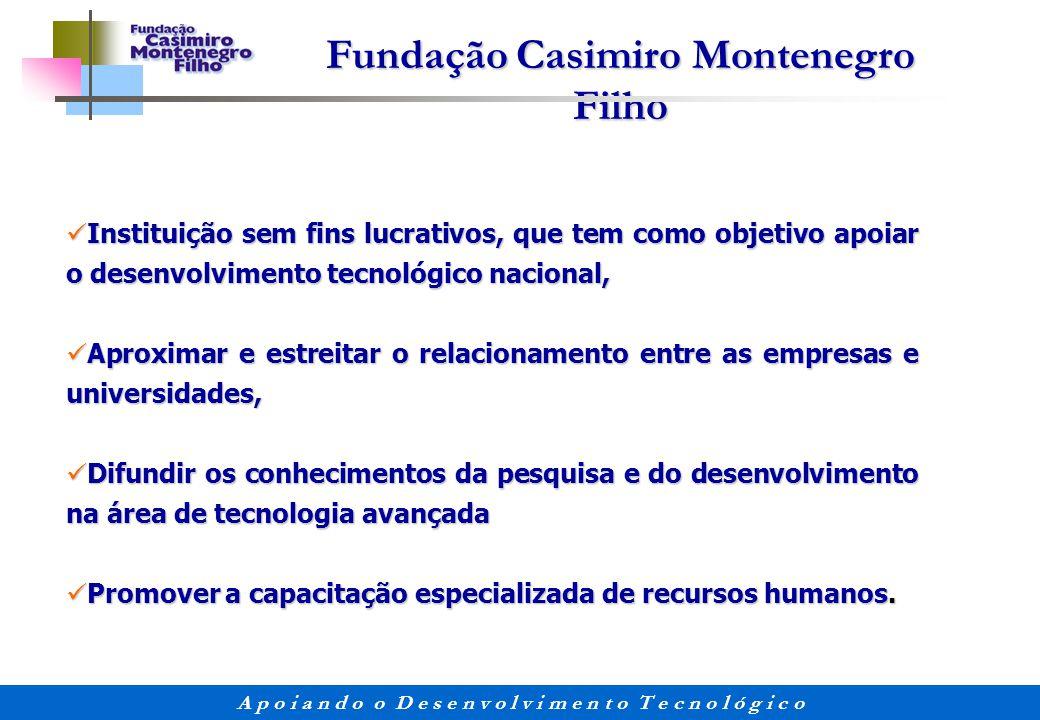 Fundação Casimiro Montenegro Filho A p o i a n d o o D e s e n v o l v i m e n t o T e c n o l ó g i c o Instituição sem fins lucrativos, que tem como