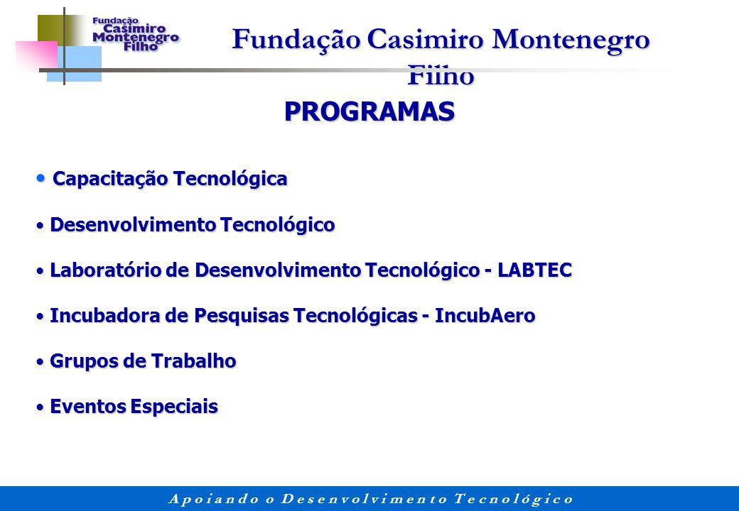Fundação Casimiro Montenegro Filho A p o i a n d o o D e s e n v o l v i m e n t o T e c n o l ó g i c o PROGRAMAS Capacitação Tecnológica Capacitação