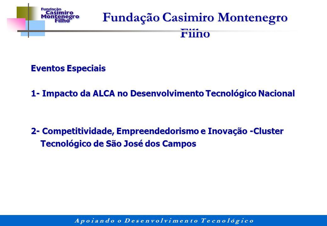 Fundação Casimiro Montenegro Filho A p o i a n d o o D e s e n v o l v i m e n t o T e c n o l ó g i c o Eventos Especiais 1- Impacto da ALCA no Desen
