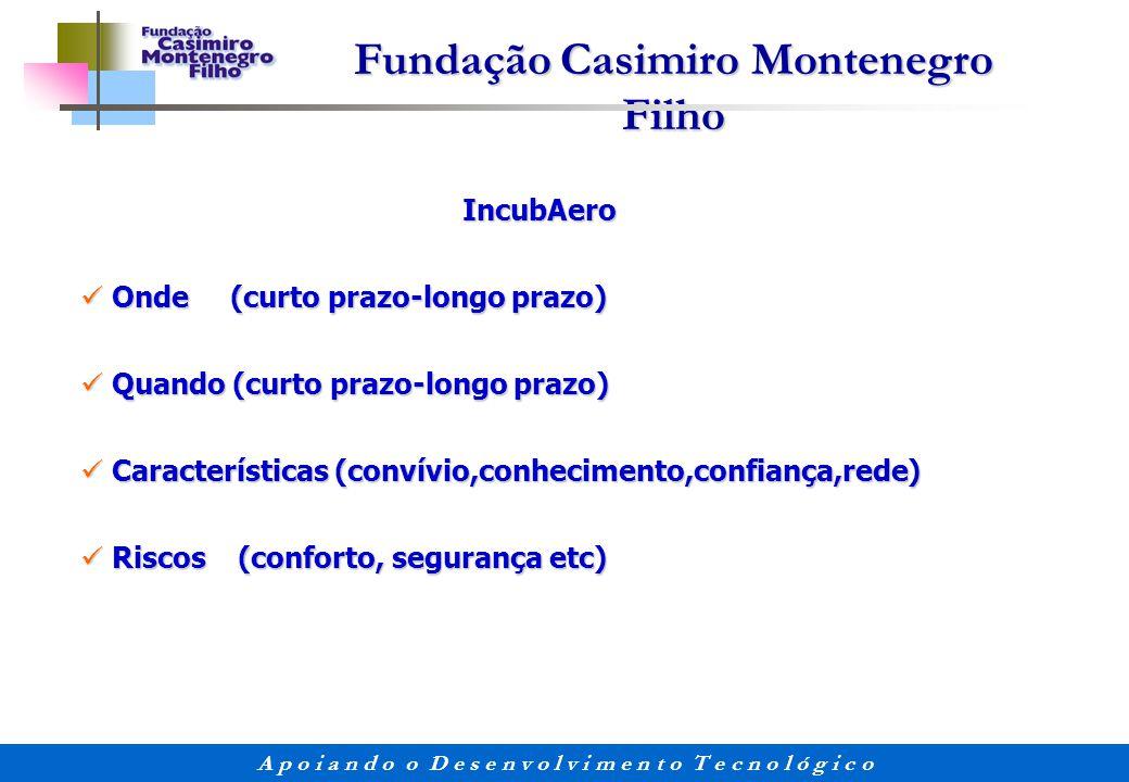 Fundação Casimiro Montenegro Filho A p o i a n d o o D e s e n v o l v i m e n t o T e c n o l ó g i c o IncubAero IncubAero Onde (curto prazo-longo p