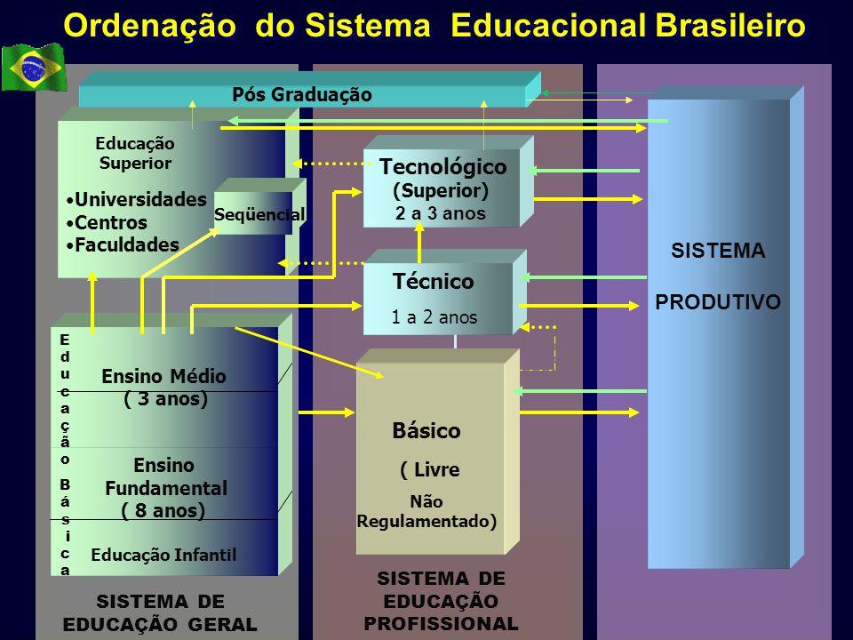 Universidades Centros Faculdades SISTEMA PRODUTIVO Ordenação do Sistema Educacional Brasileiro Ensino Fundamental ( 8 anos) Educação Infantil Ensino M