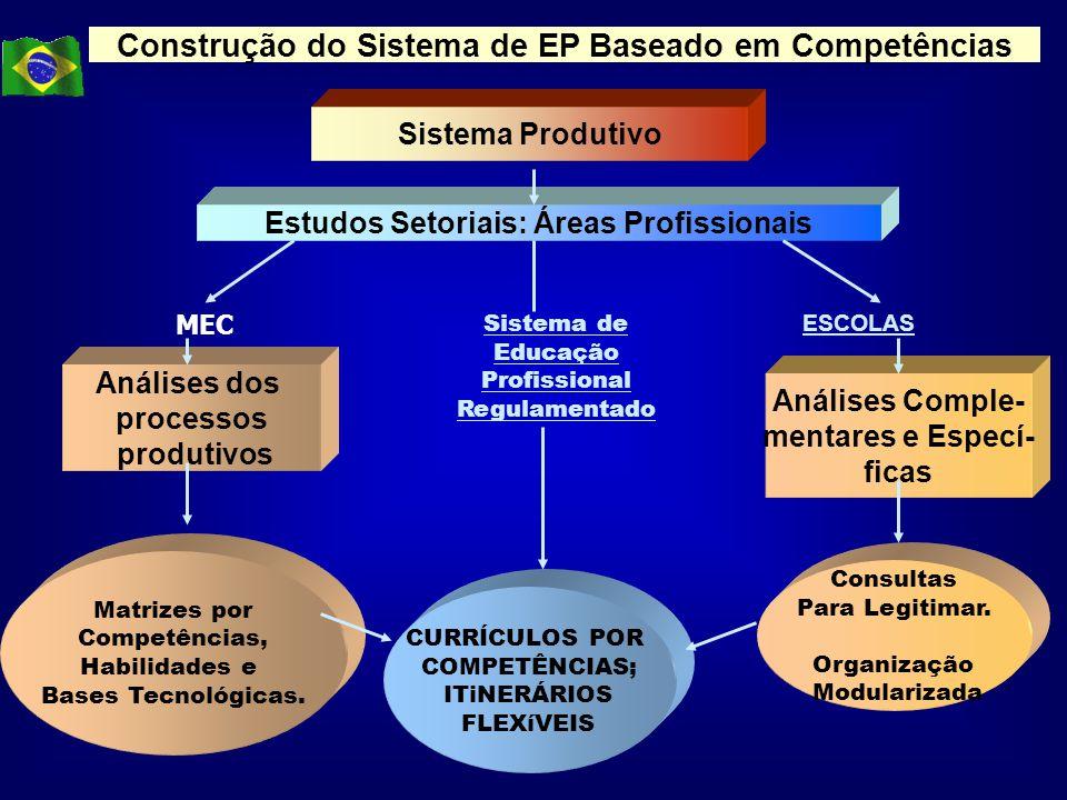 Construção do Sistema de EP Baseado em Competências Sistema Produtivo Estudos Setoriais: Áreas Profissionais Análises dos processos produtivos Análise