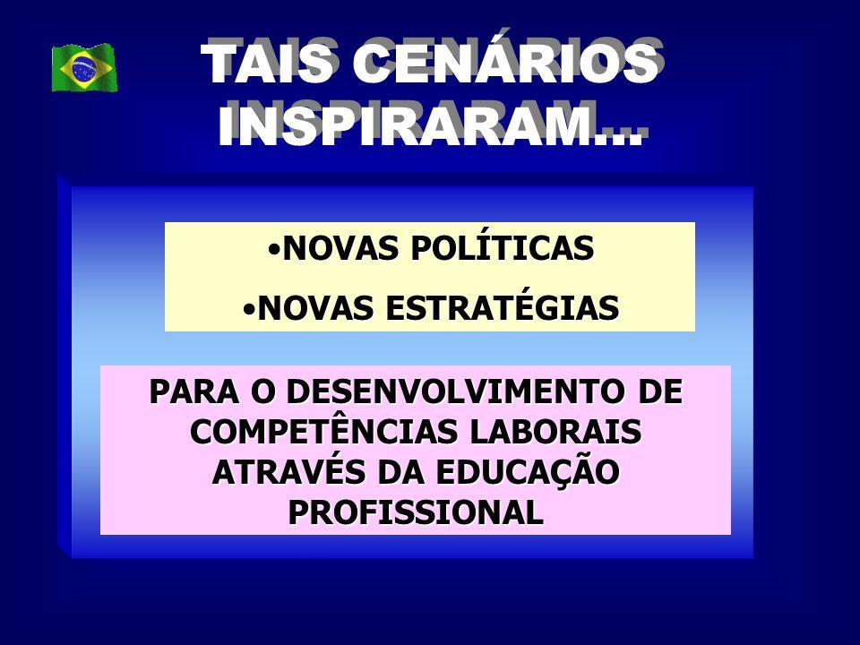 NOVAS POLÍTICASNOVAS POLÍTICAS NOVAS ESTRATÉGIASNOVAS ESTRATÉGIAS TAIS CENÁRIOS INSPIRARAM... PARA O DESENVOLVIMENTO DE COMPETÊNCIAS LABORAIS ATRAVÉS