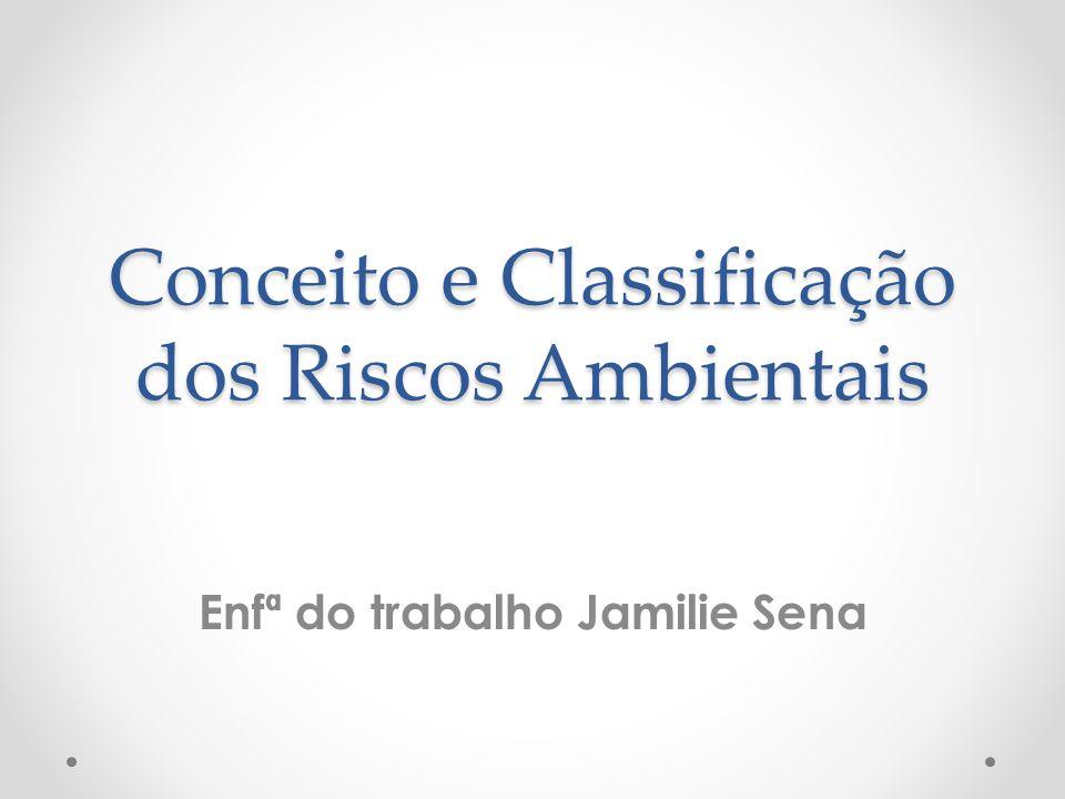 Conceito e Classificação dos Riscos Ambientais Conceito e Classificação dos Riscos Ambientais Enfª do trabalho Jamilie Sena