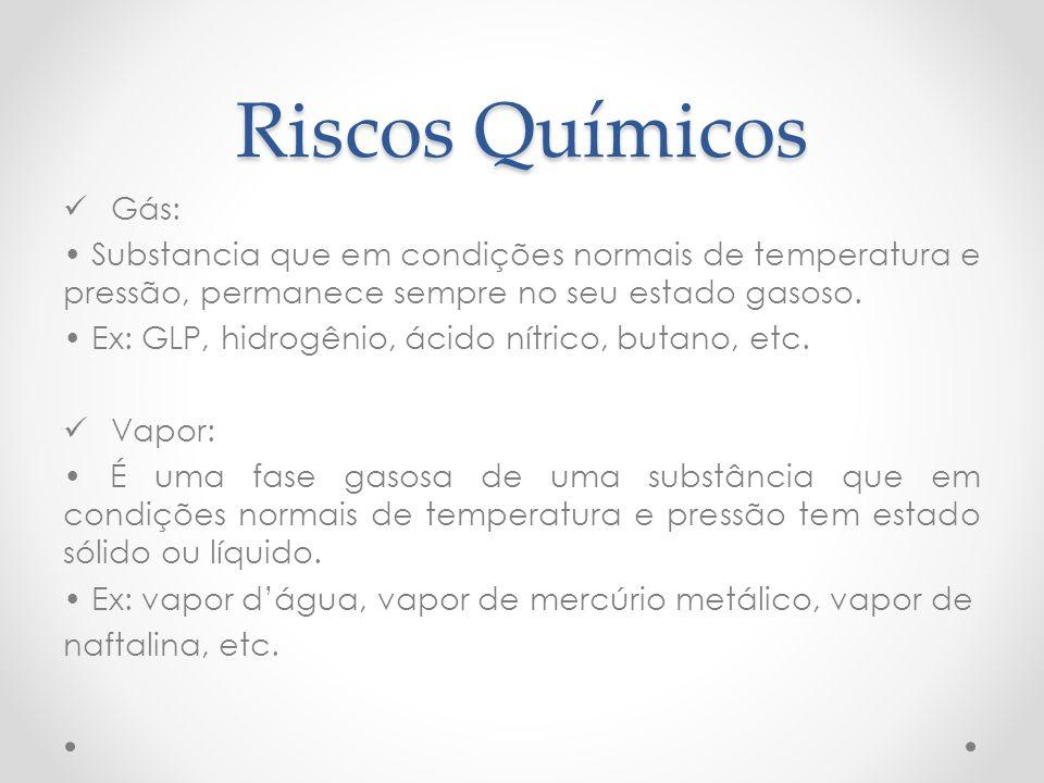 Riscos Químicos Gás: Substancia que em condições normais de temperatura e pressão, permanece sempre no seu estado gasoso. Ex: GLP, hidrogênio, ácido n