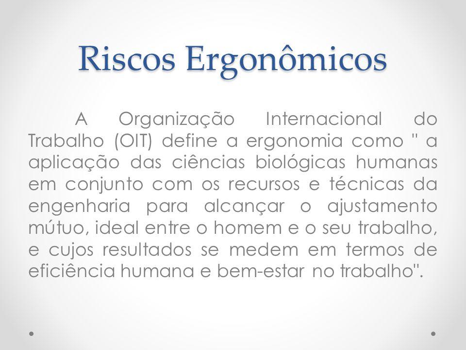 Riscos Ergonômicos A Organização Internacional do Trabalho (OIT) define a ergonomia como