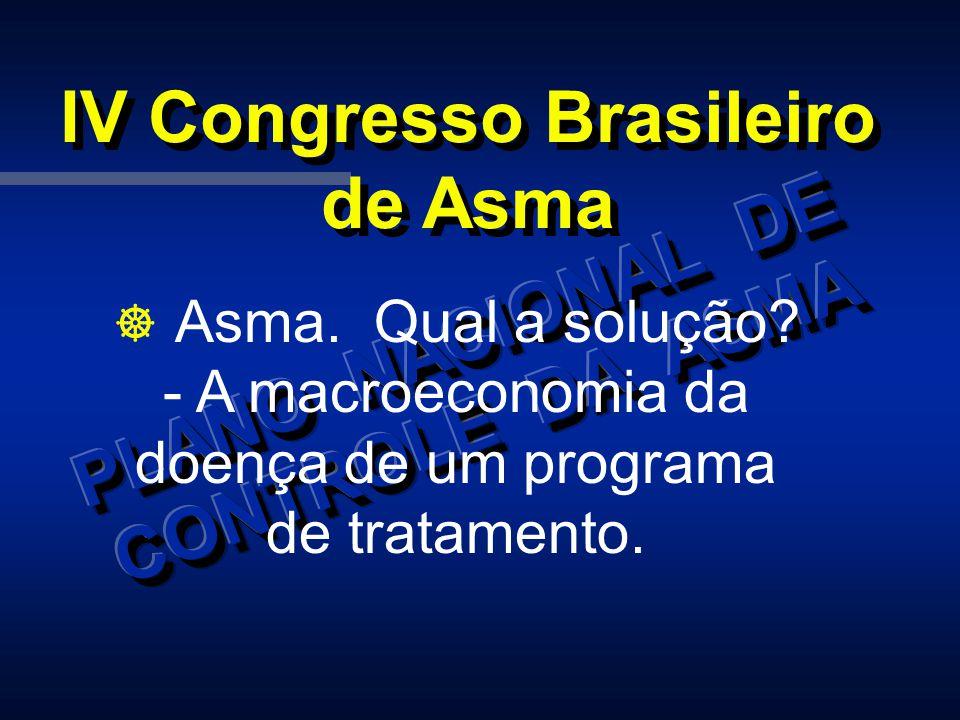 IV Congresso Brasileiro de Asma ] Asma. Qual a solução? - A macroeconomia da doença de um programa de tratamento.