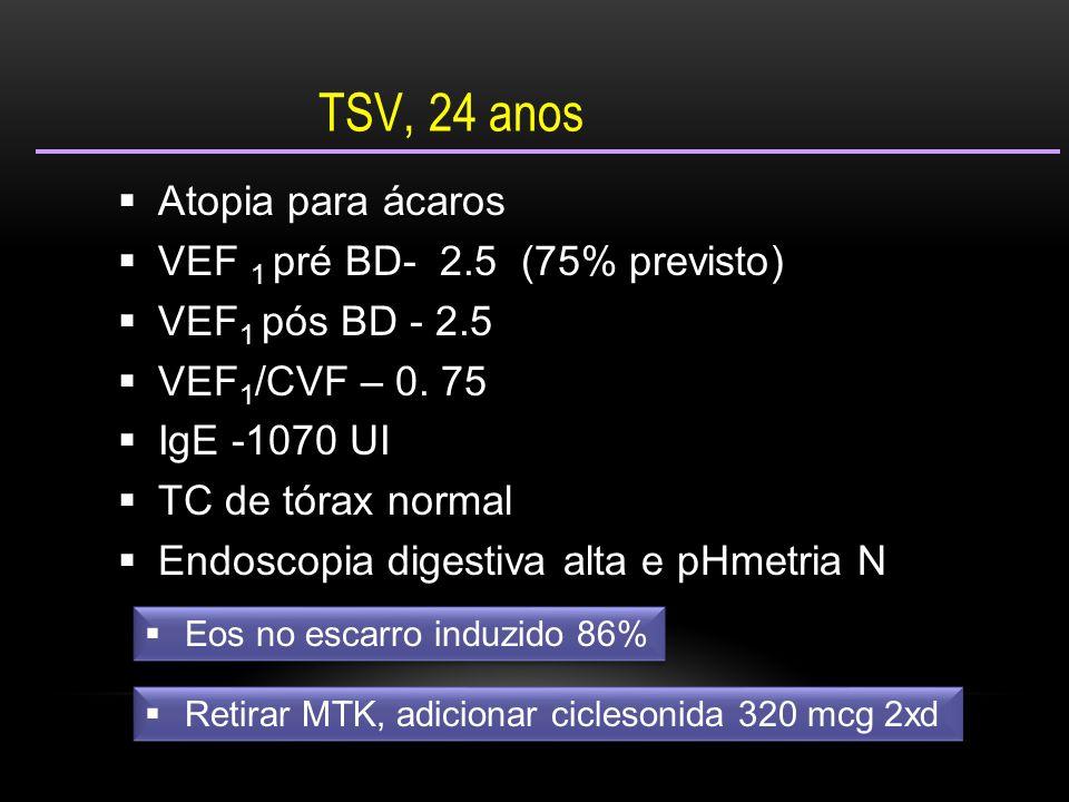  Atopia para ácaros  VEF 1 pré BD- 2.5 (75% previsto)  VEF 1 pós BD - 2.5  VEF 1 /CVF – 0. 75  IgE -1070 UI  TC de tórax normal  Endoscopia dig