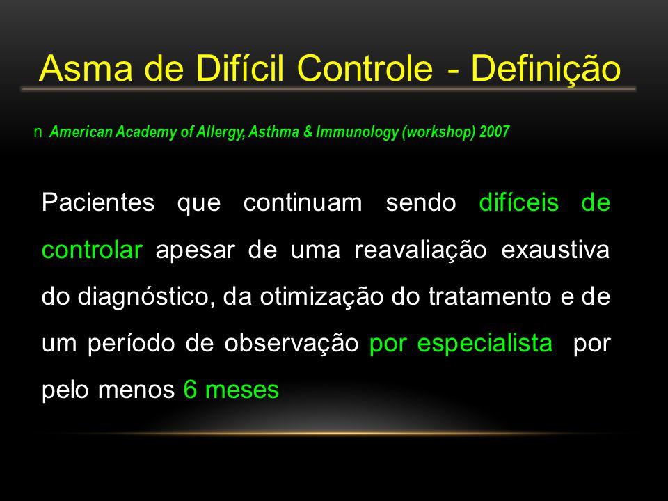 Pacientes que continuam sendo difíceis de controlar apesar de uma reavaliação exaustiva do diagnóstico, da otimização do tratamento e de um período de