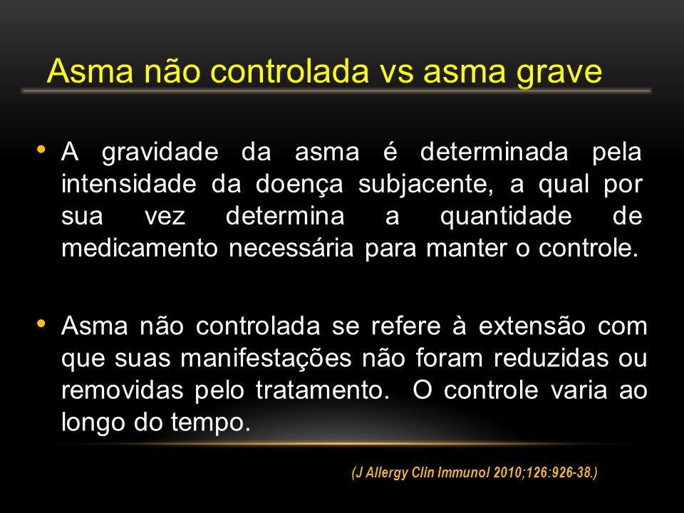 Asma não controlada se refere à extensão com que suas manifestações não foram reduzidas ou removidas pelo tratamento.