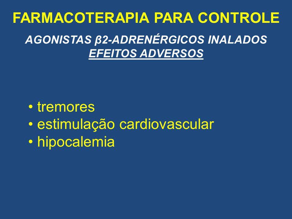 FARMACOTERAPIA PARA CONTROLE AGONISTAS β2-ADRENÉRGICOS INALADOS EFEITOS ADVERSOS tremores estimulação cardiovascular hipocalemia