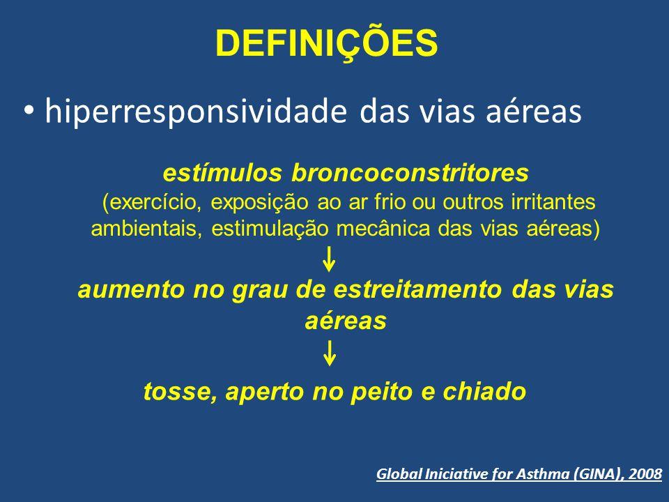 DEFINIÇÕES hiperresponsividade das vias aéreas Global Iniciative for Asthma (GINA), 2008 tosse, aperto no peito e chiado estímulos broncoconstritores