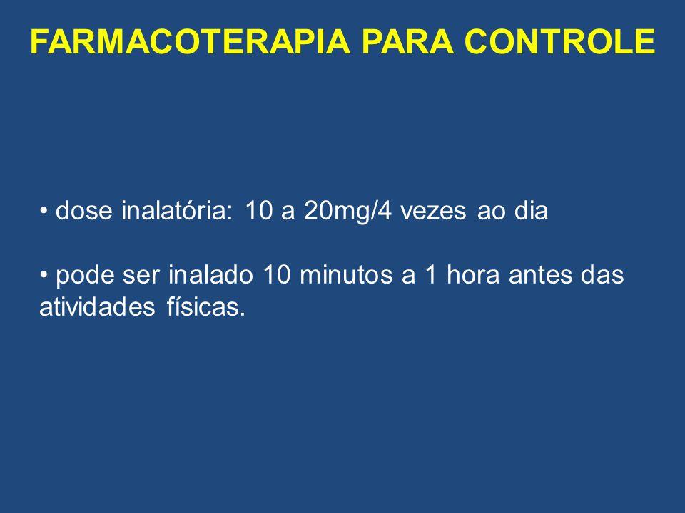 dose inalatória: 10 a 20mg/4 vezes ao dia pode ser inalado 10 minutos a 1 hora antes das atividades físicas.