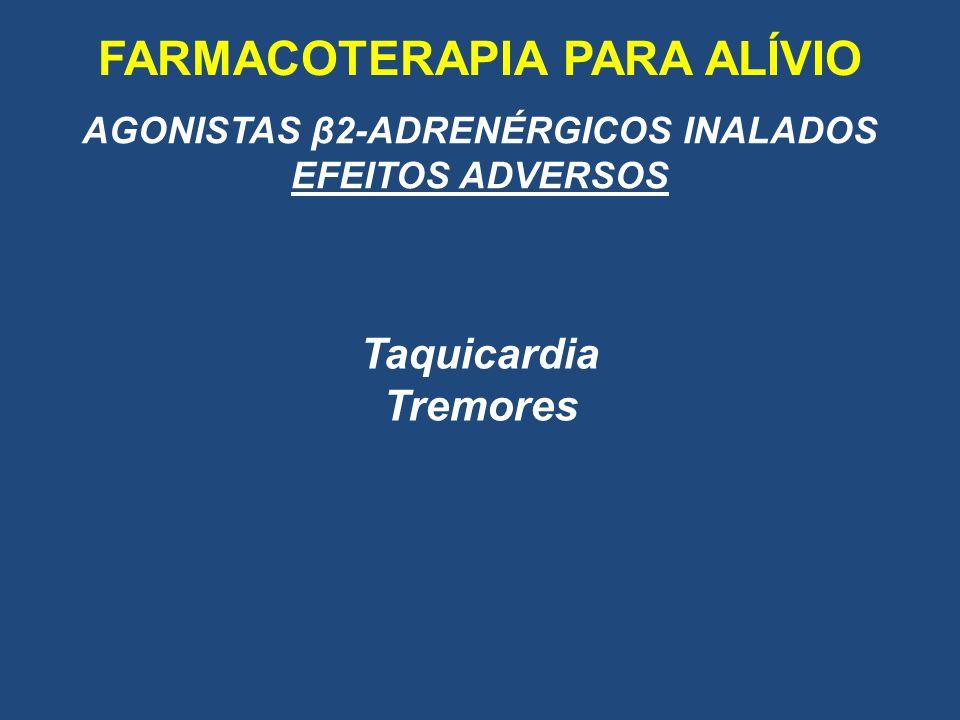 FARMACOTERAPIA PARA ALÍVIO AGONISTAS β2-ADRENÉRGICOS INALADOS EFEITOS ADVERSOS Taquicardia Tremores
