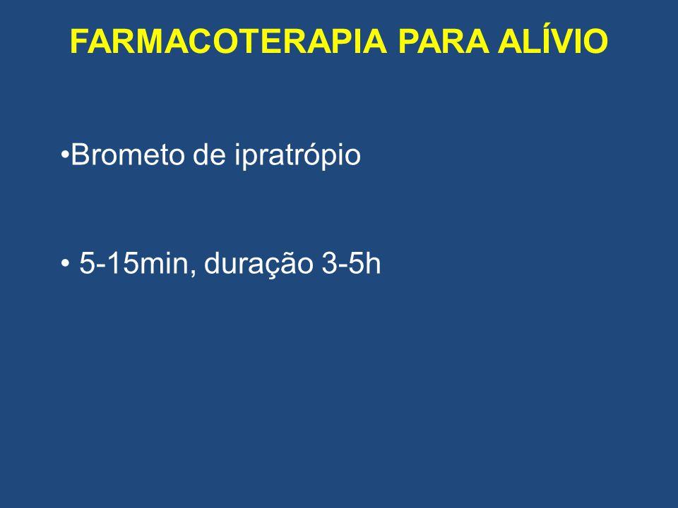 FARMACOTERAPIA PARA ALÍVIO Brometo de ipratrópio 5-15min, duração 3-5h