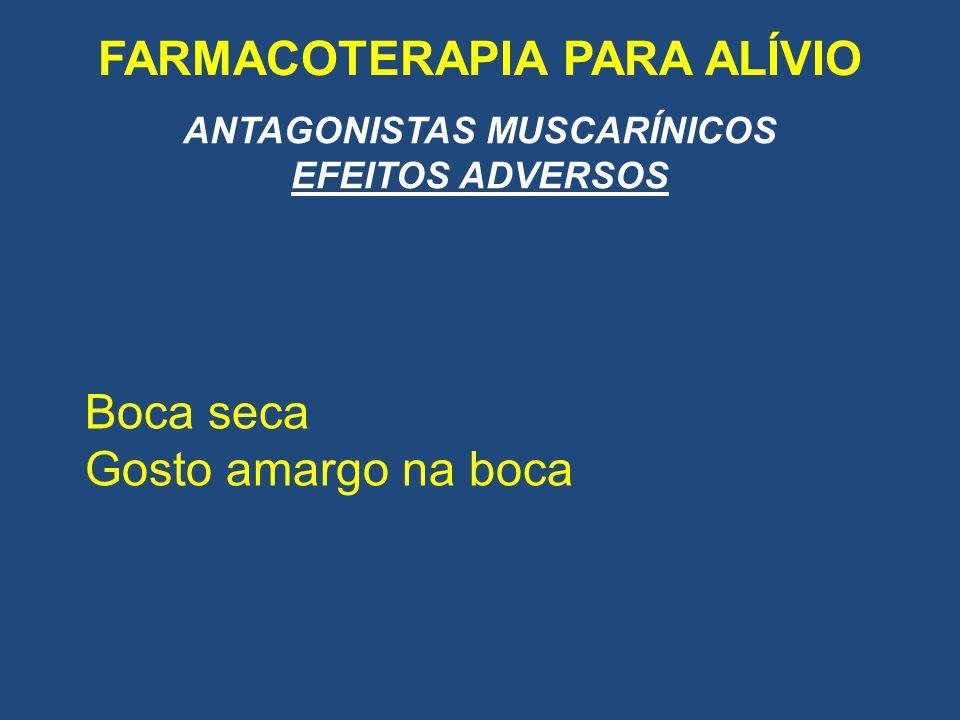 FARMACOTERAPIA PARA ALÍVIO ANTAGONISTAS MUSCARÍNICOS EFEITOS ADVERSOS Boca seca Gosto amargo na boca