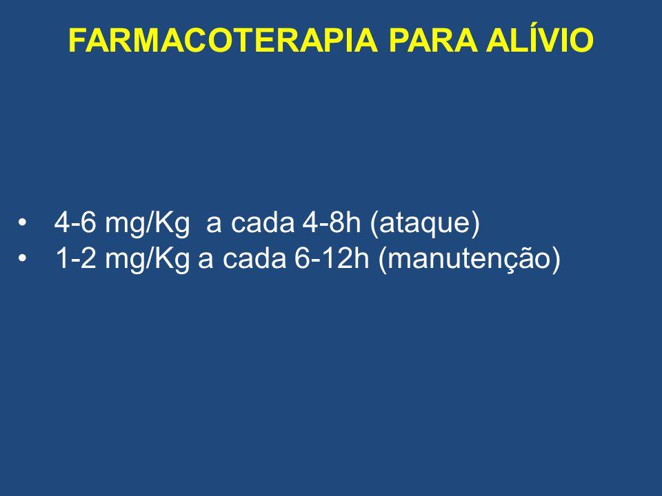 FARMACOTERAPIA PARA ALÍVIO 4-6 mg/Kg a cada 4-8h (ataque) 1-2 mg/Kg a cada 6-12h (manutenção)