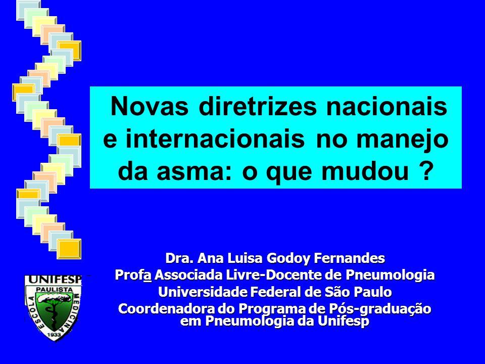 Novas diretrizes nacionais e internacionais no manejo da asma: o que mudou ? Dra. Ana Luisa Godoy Fernandes Profa Associada Livre-Docente de Pneumolog