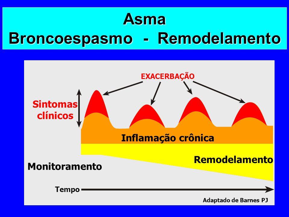 Asma Broncoespasmo - Remodelamento EXACERBAÇÃO Inflamação crônica Remodelamento Sintomas clínicos Tempo Adaptado de Barnes PJ Monitoramento