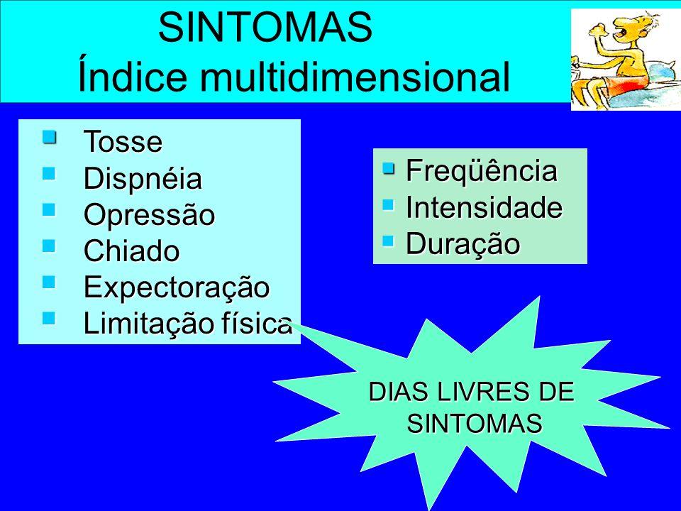 SINTOMAS Índice multidimensional  Tosse  Dispnéia  Opressão  Chiado  Expectoração  Limitação física  Freqüência  Intensidade  Duração DIAS LI