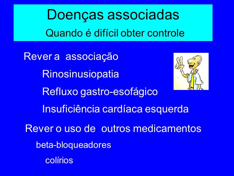Doenças associadas Quando é difícil obter controle Rever a associação Rinosinusiopatia Refluxo gastro-esofágico Insuficiência cardíaca esquerda Rever